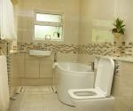 Gloss Elm bathroom cabinets