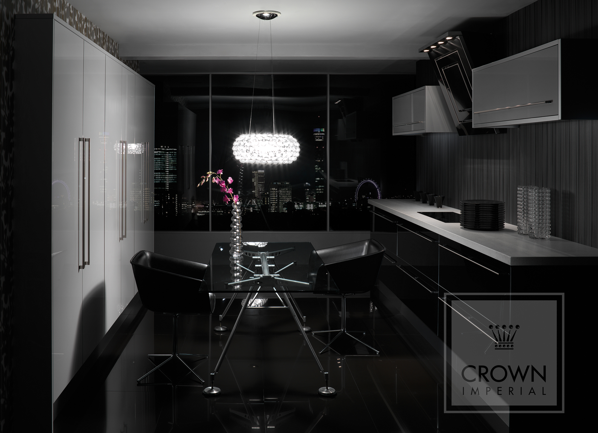 Kitchens  Contemporary Kitchens  Crown Rialto Gloss Black, Silver